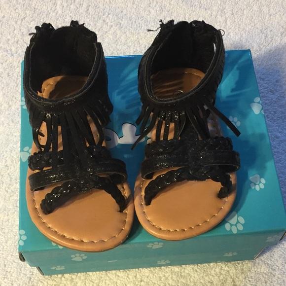 Nib Baby Girl Black Fringe Sandals